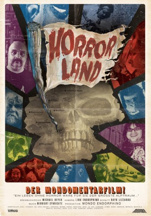 "Movie-poster I made in a 70ies ""Mondo"" Style with several techniques aquarell, collage and digital. It is a documentary about the horror-picture fan-scene in germany. Comming out soon."